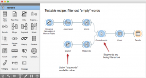screenshot for filter out empty words recipe workflow